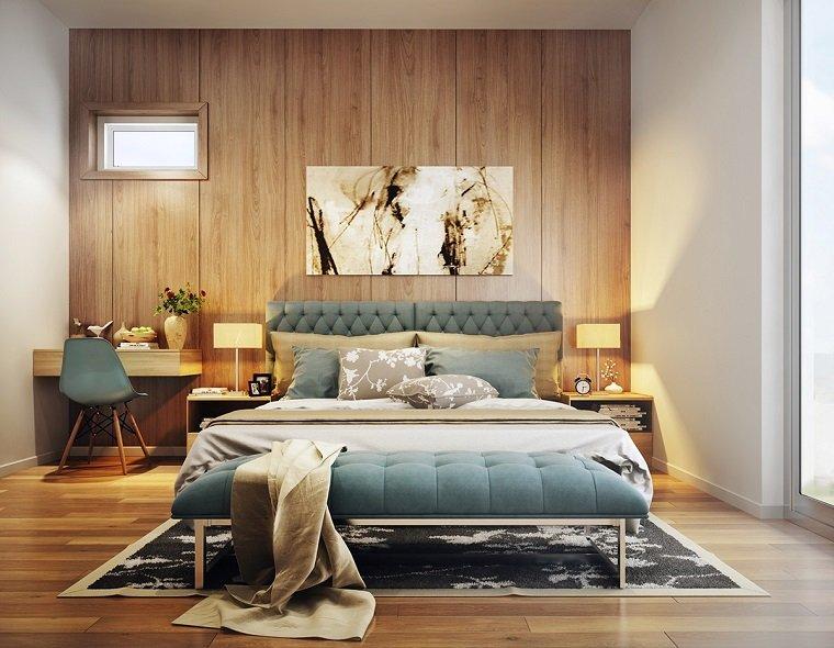 original dormitorio con pared de madera