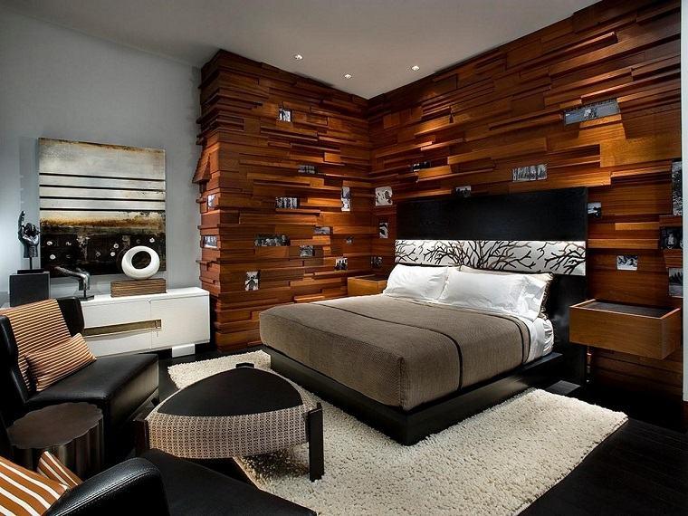 dormitorios con pared de madera