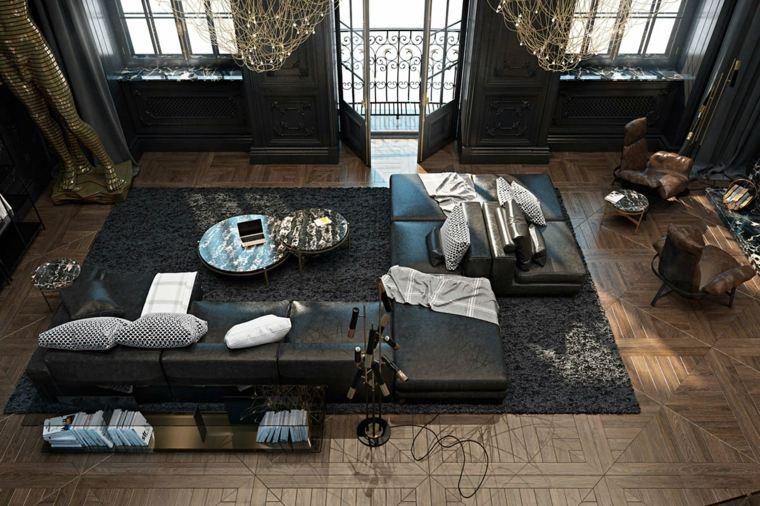 paredes pintadas-negro-salon-alfombra-grande-diseno-contemporaneo