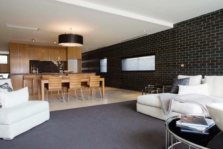 paredes pintadas-negro-salon-diseno-espacios-abierotos