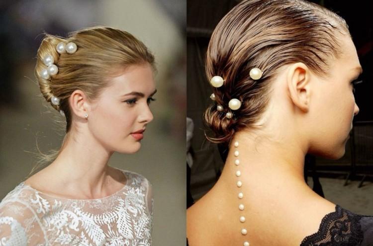 peinados de novia ideas perlas elegantes
