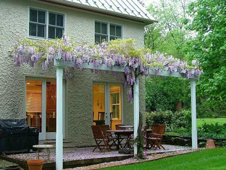 estupendas ideas para decorar un patio con wisterias