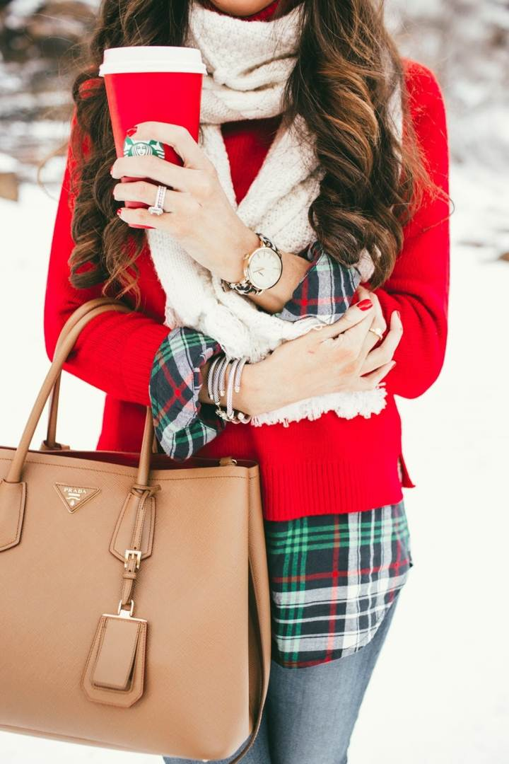 rojo estilo bufanda cuadros