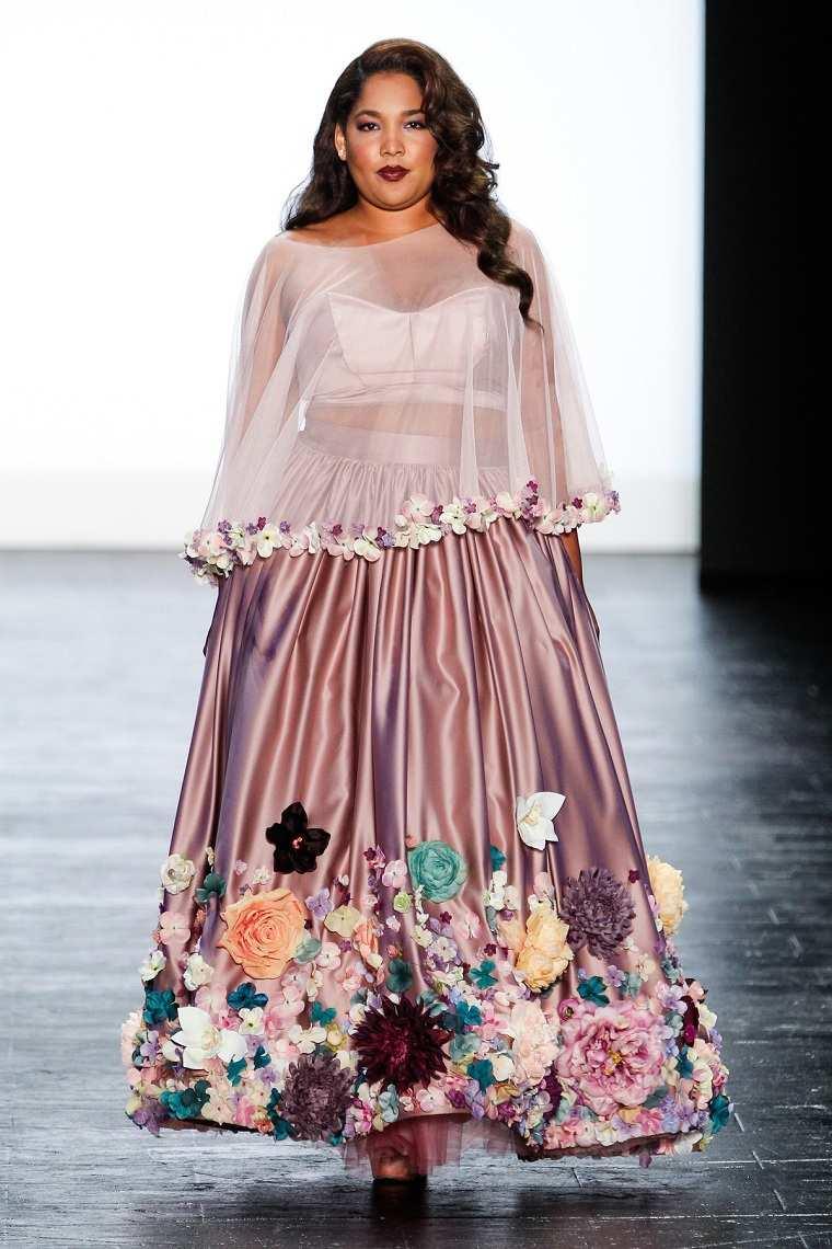 ropa tallas grandes semana-moda-nueva-york-falda-flores