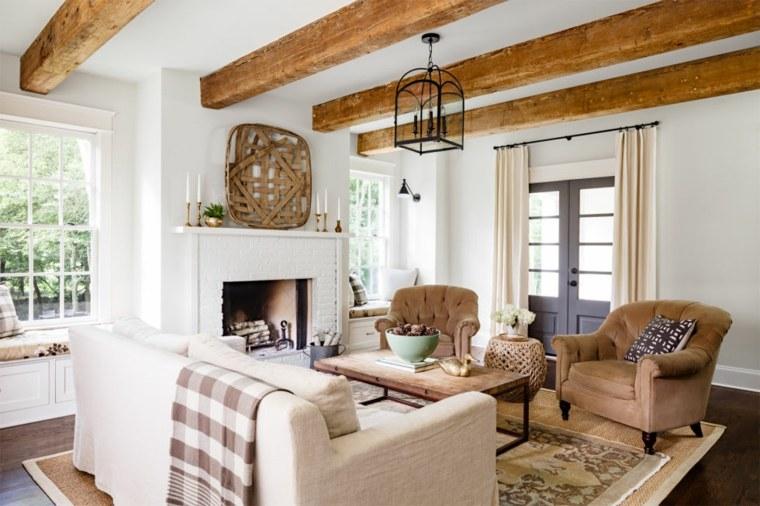 salon-chimenea-muebles-blancos-ideas-diseno