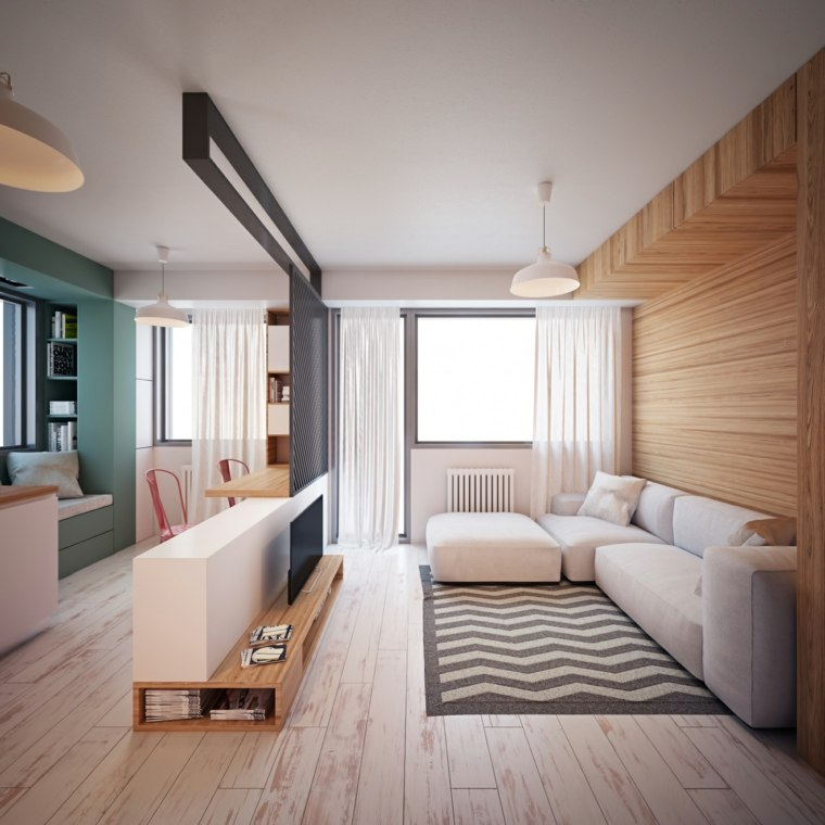 salones pequeños muebles diseño-color-blanco