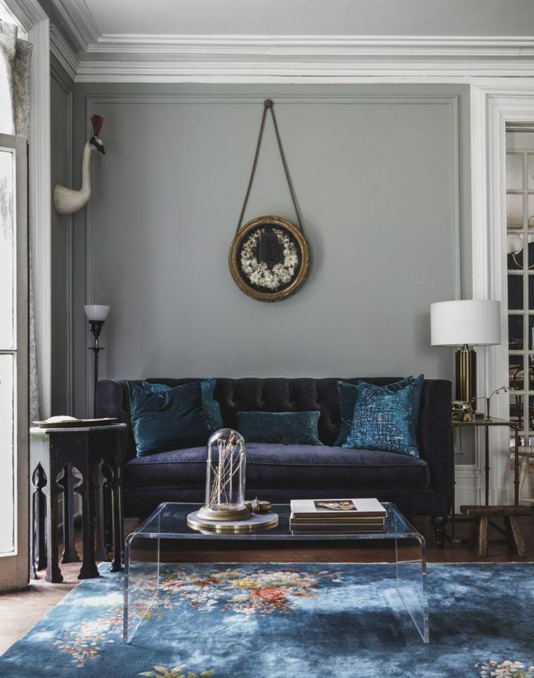 salones pequeños muebles diseño-colores-oscuros