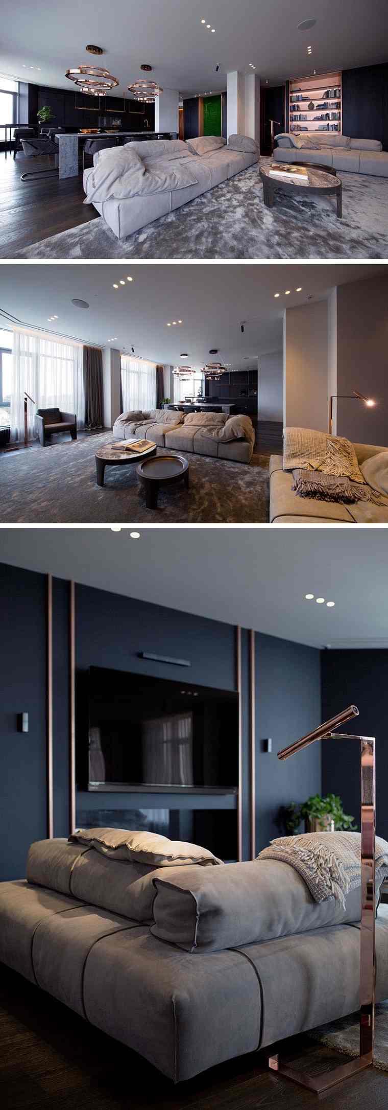 diseño de interior con acentos de cobre