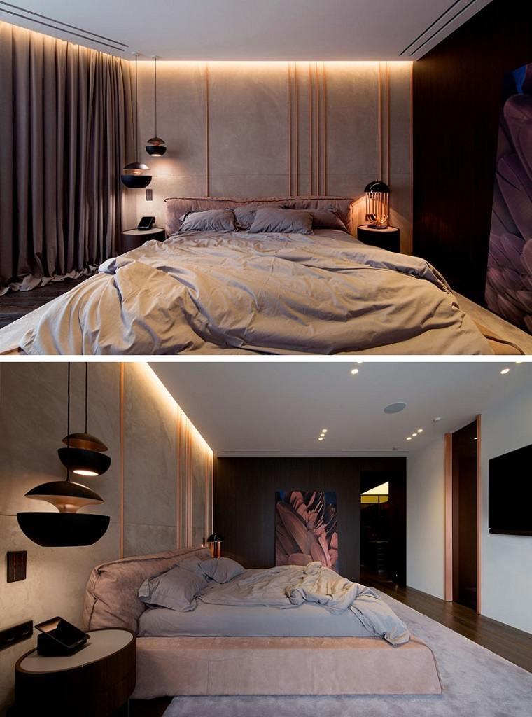 dormitorio con acentos de cobre