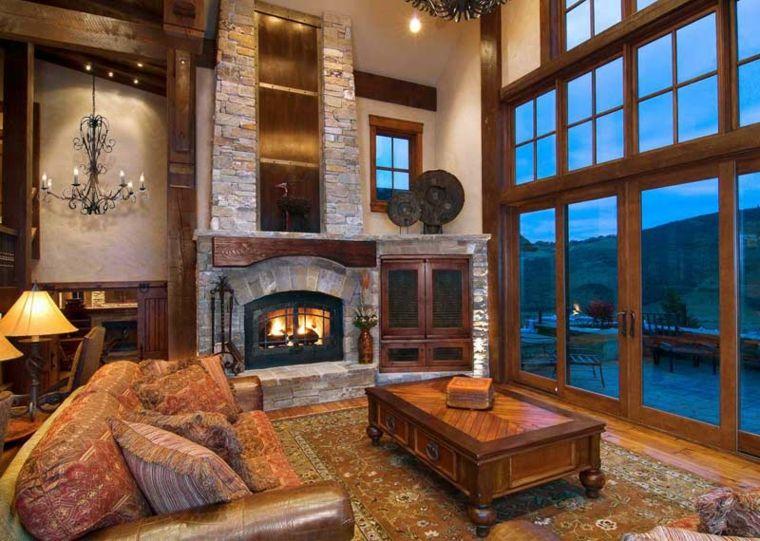 interior lujoso con chimenea