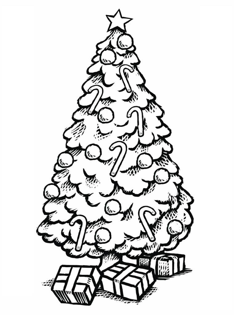Dibujos de navidad para colorear y qu s mbolos representan - Arbol de navidad con regalos ...