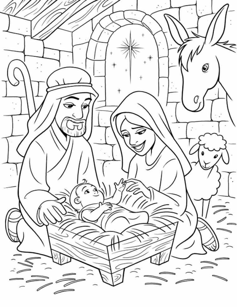 belenes-de-Navidad-dibujo-para-colorear