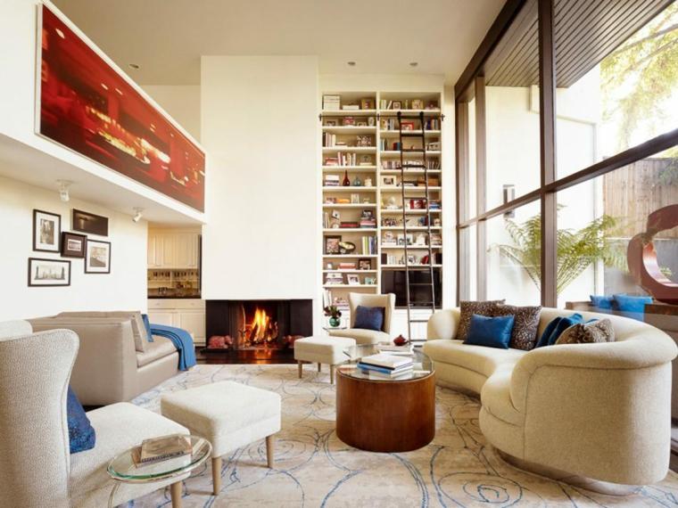 diseño de sala con chimenea moderna