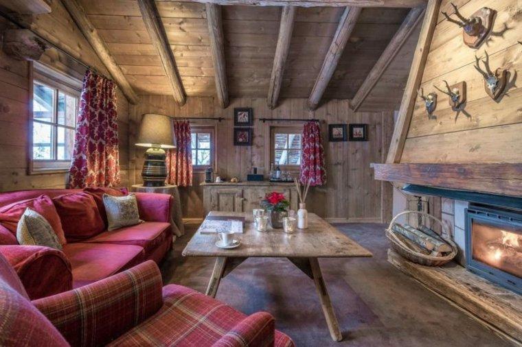 cabaña de lujo con chimenea