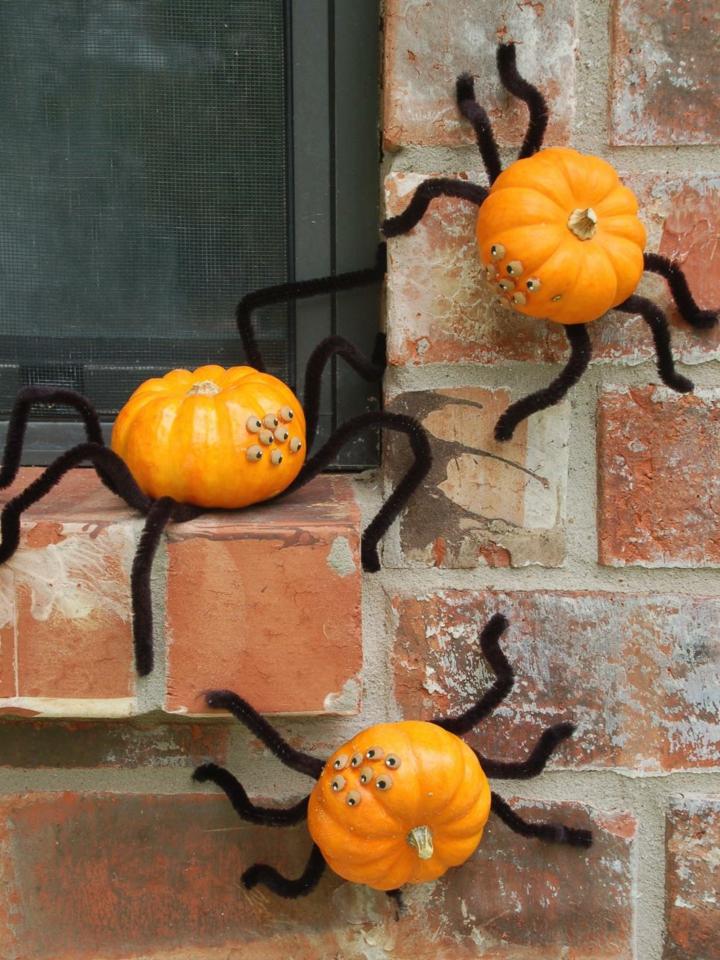 calabazas arañas divertidas ventanas