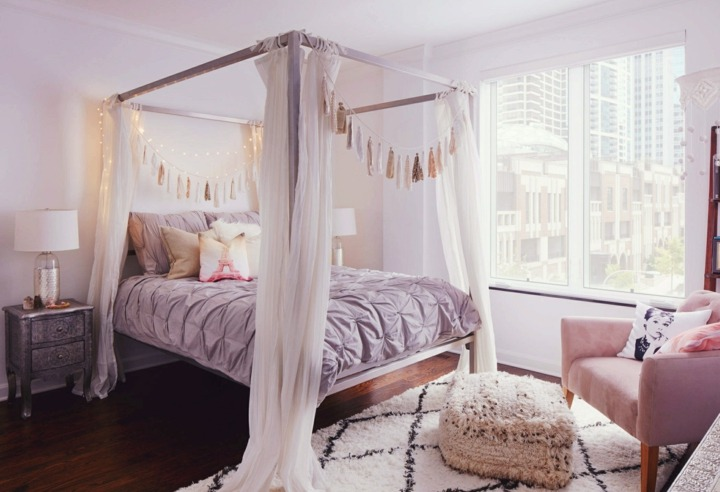 cama dosel metalico cortinas