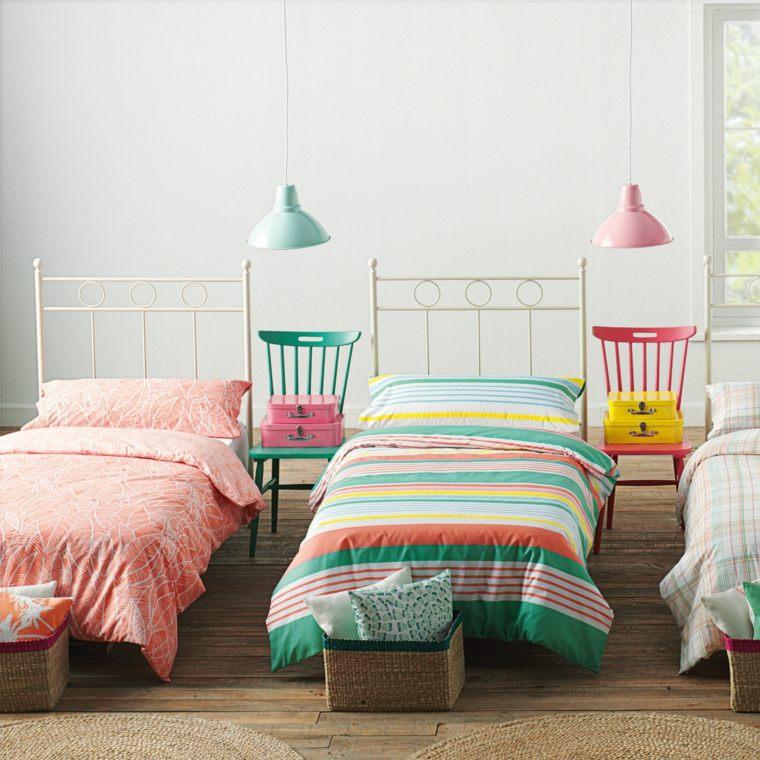 camas metalicas rosa blancas