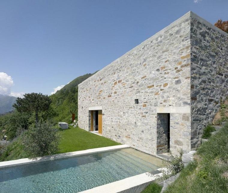 diseño de fachada de piedra