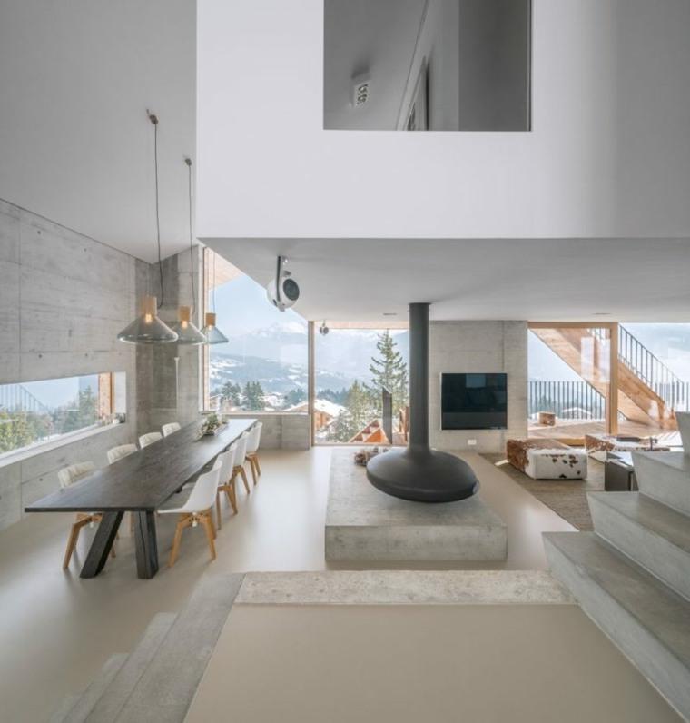 diseño de interior moderno con chimenea