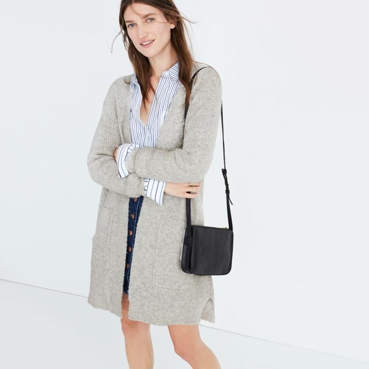combinar chaqueta de punto larga basica gris mujer