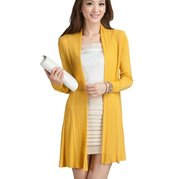 chaquetas de punto amarilla