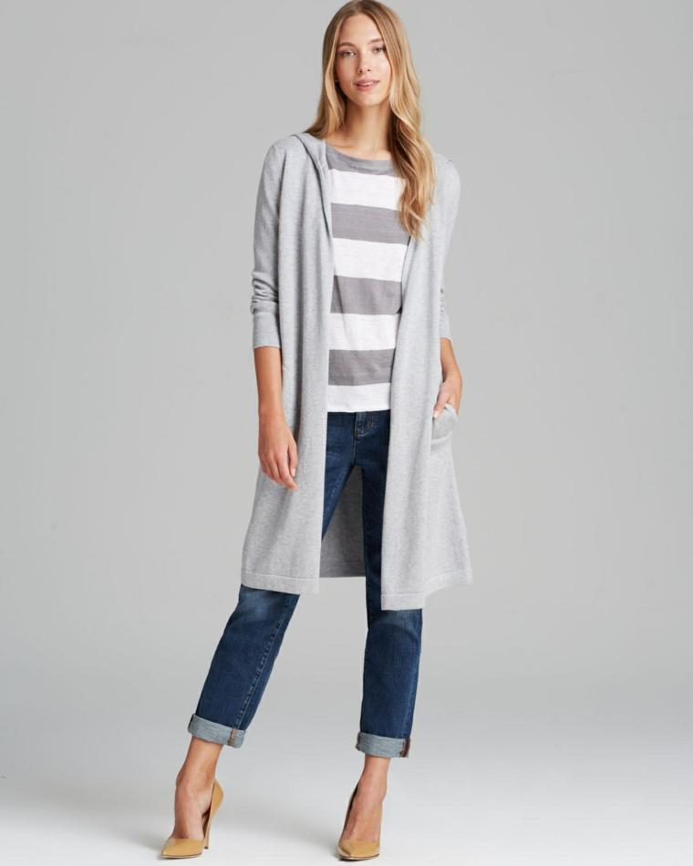 chaquetas de punto gris