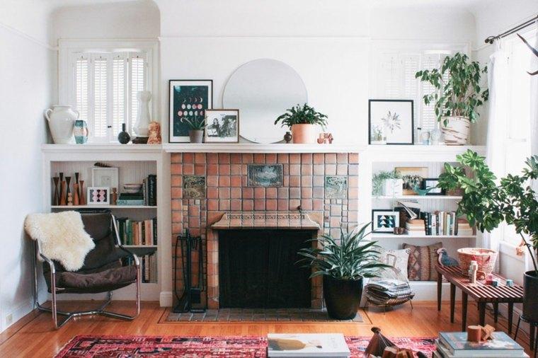 sala con chimenea moderna