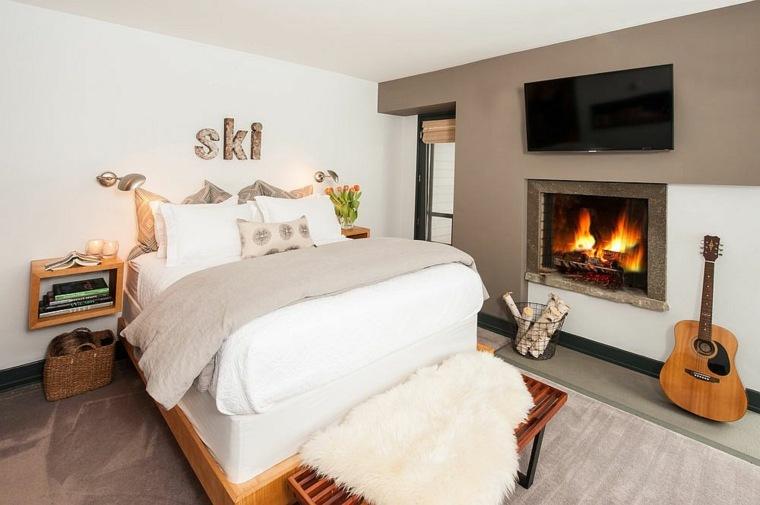 chimenea caliente dormitorio rustico