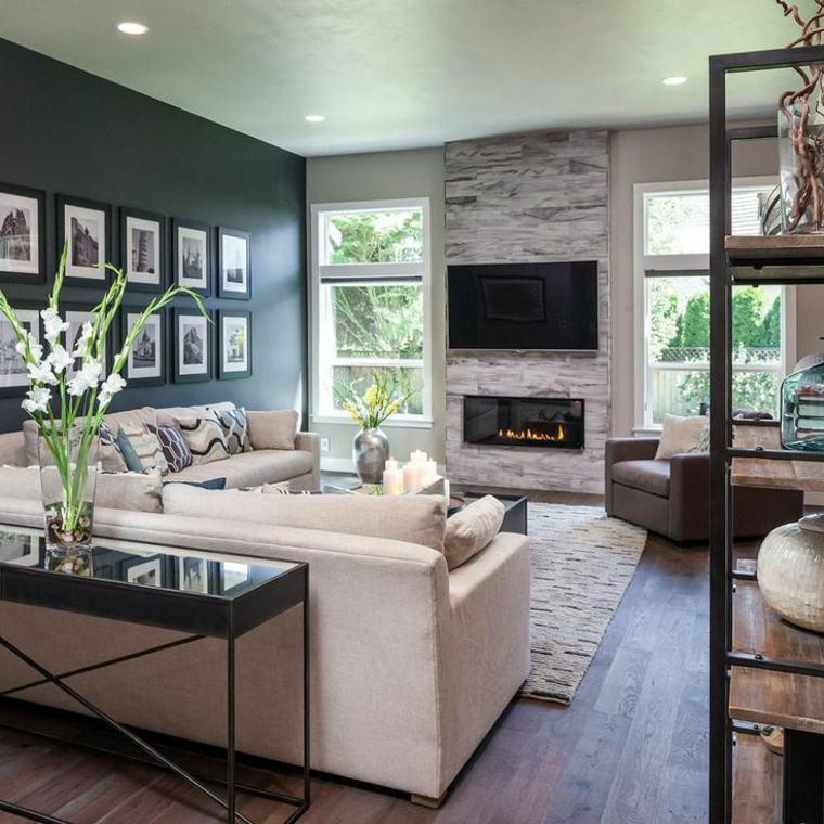 estupendo diseño de interior con chimenea