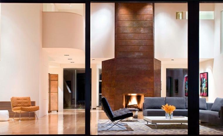 diseño de interiores con chimenea