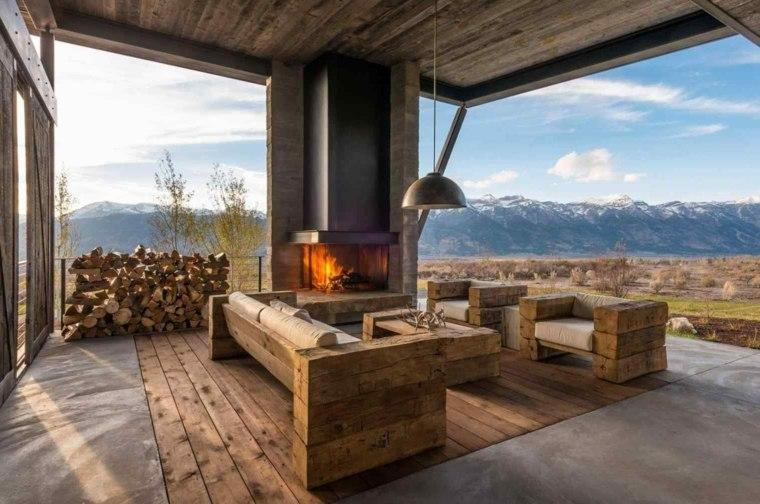 diseño de interior con chimenea moderna