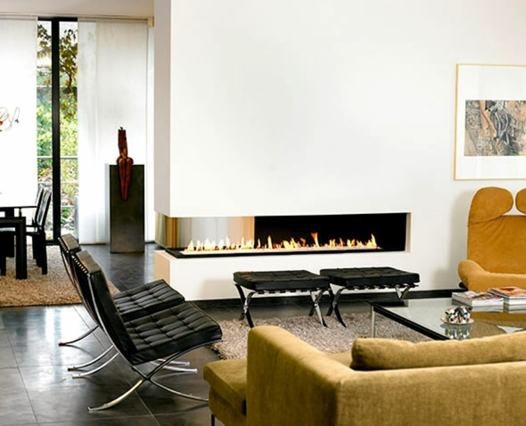salones con chimeneas modernas