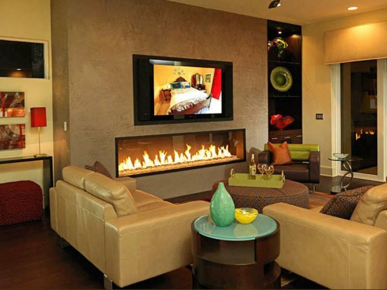 bonitos diseños de interiores con chimenea