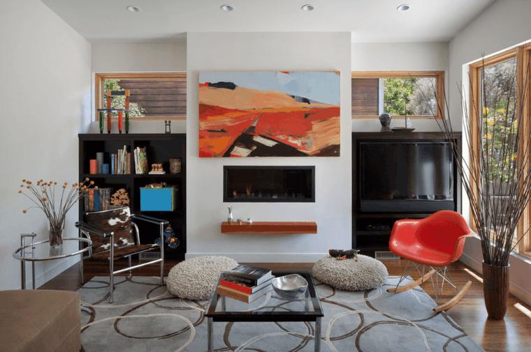 sala de estar con chimenea moderna