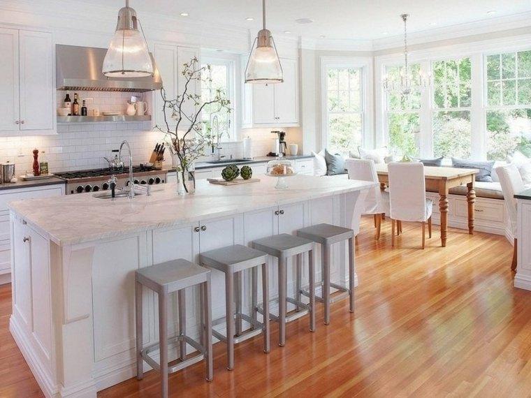 cocina americana-isla-blanca-madera-estilo