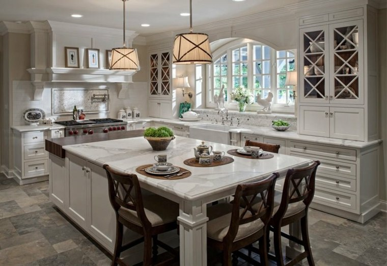 cocina americana-isla-blanca-madera-marmol