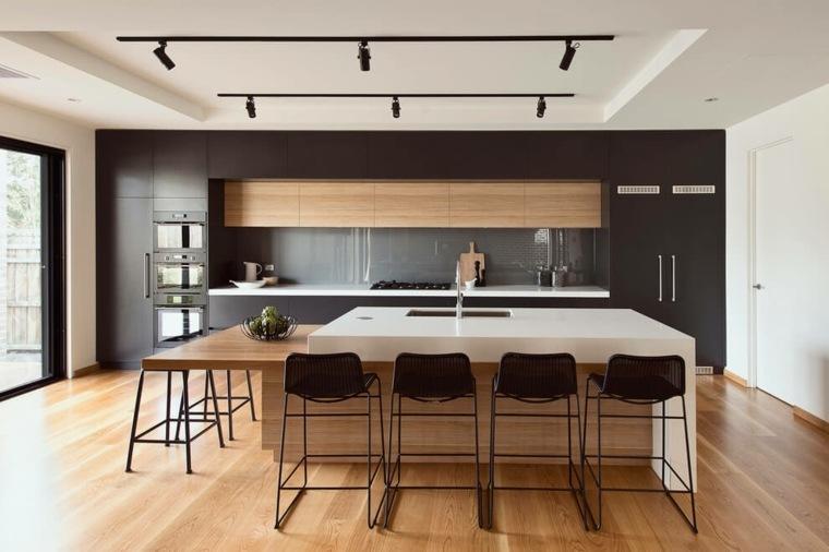 cocina americana-isla-blanca-muebles-negros