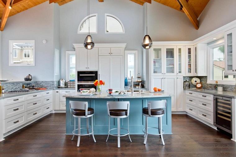cocina americana-isla-color-azul