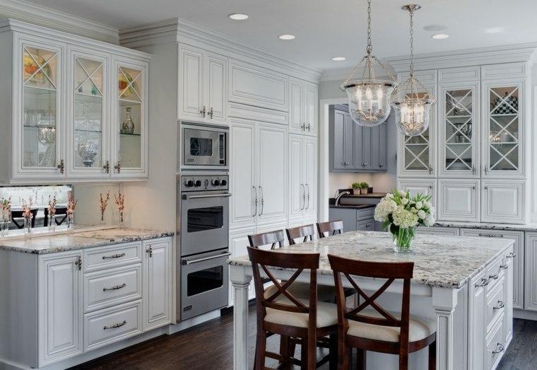 cocina americana-isla-combinacion-muebles-blanco-gris