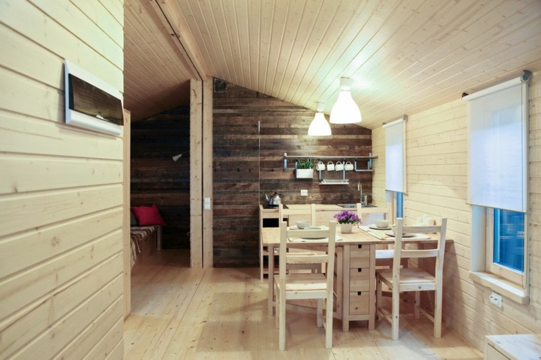 cocina-pequena-comedor-combinacion-pared-madera