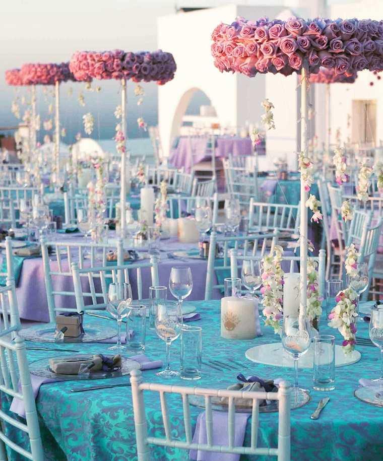 decoración bodas vintage modernas-decoracion-azul-rosa