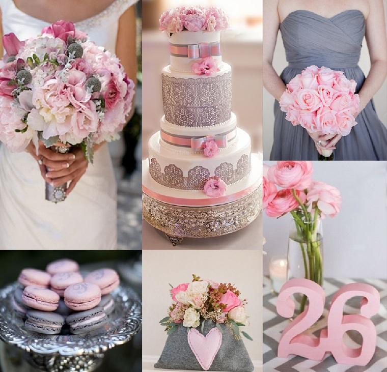 decoración bodas vintage modernas-decoracion-gris-rosa