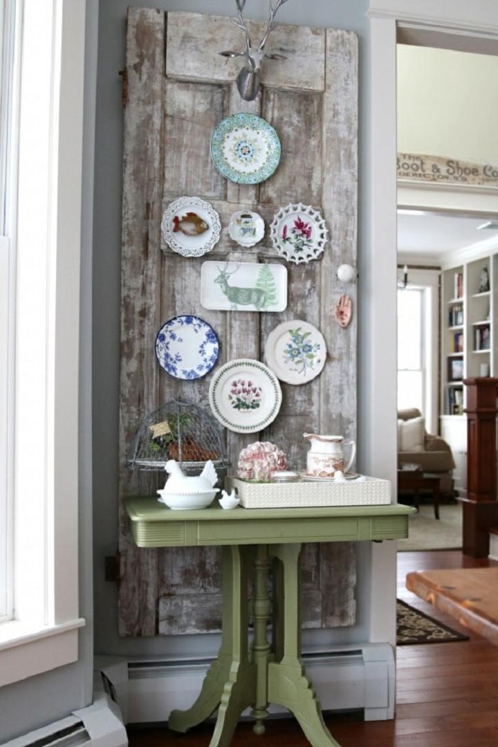 decoracion vintage barata puerta reciclada