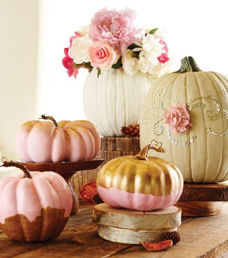decorar calabazas-opciones-originales-roso-oro