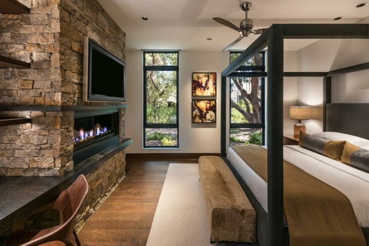 dormitorio-chimena-moderna-pared-piedra-estilo