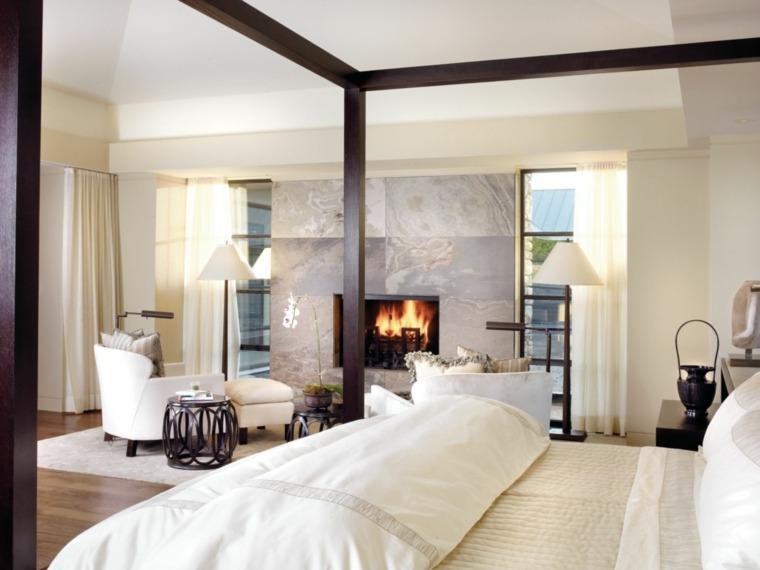 dormitorios-con-chimeneas-modernas-diseno-cama-dosel