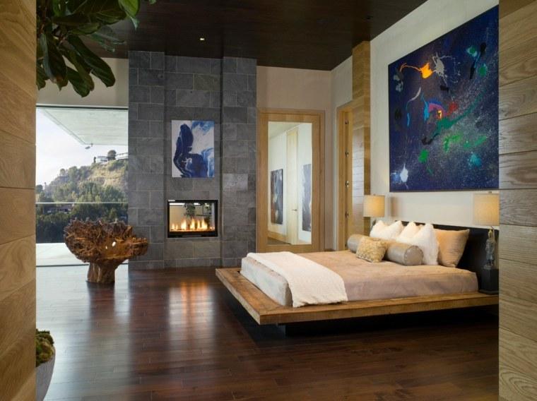 dormitorios-con-chimeneas-modernas-diseno-cama-original