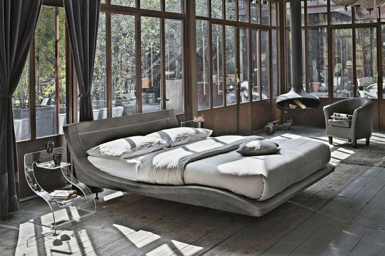 dormitorios con chimeneas modernas-diseno-rustico