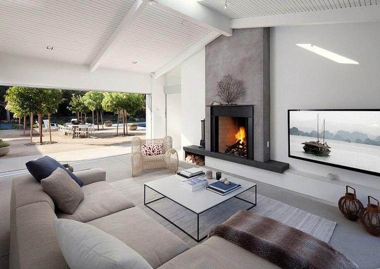 estupendos diseños de salones con chimeneas contemporáneas