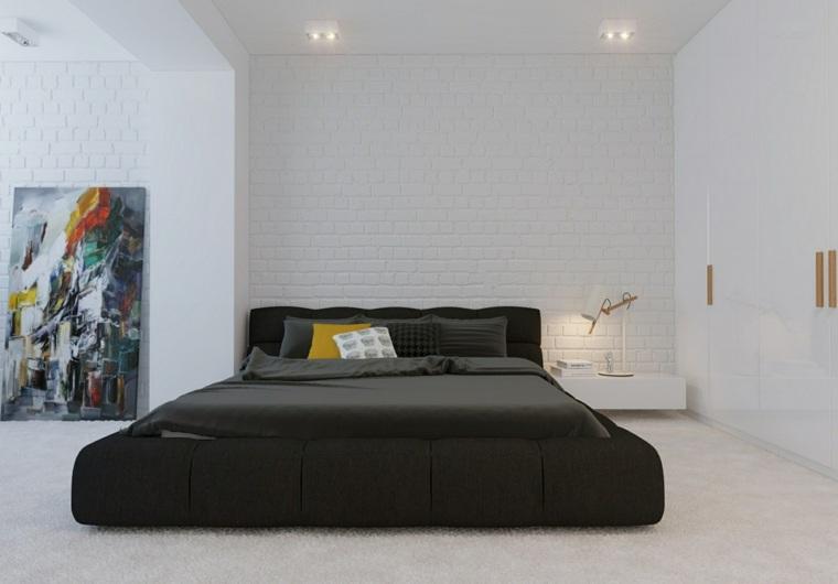 feng shui cama-dormitorio-cama-negra-paredes-blancas
